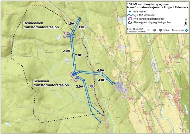 Kart over reguleringsområde for datasenter i Skien.