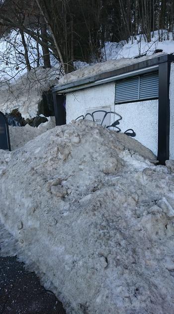 Nettstasjon gjenbrøytet med snø/is.