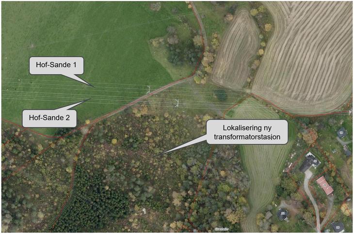 Bilde med markeringer for ny transformatorstasjon Hanekleiva